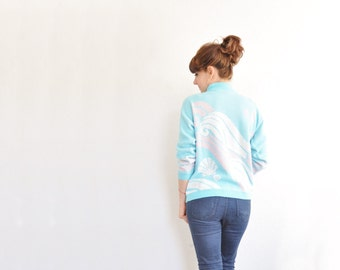 aqua pink seashell sparkle sweater . very ski lodge little mermaid .medium .sale s a l e