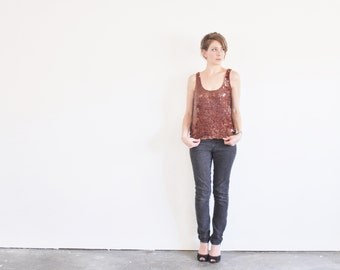 tortoise shell sequin tank top . rust brown sparkle blouse .small.medium