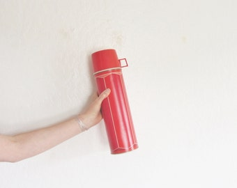 retro tall red 1974 metal thermos . extra long camping soup drink canteen .sale s a l e