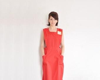 red junior nurse uniform . auxiliary volunteer overall jumper dress .medium .sale
