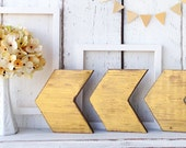 Gold Wood arrows - set of THREE - rustic modern Christmas holiday
