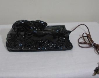 Vintage Black Horse TV Lamp with Planter
