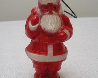 Vintage Red & White Plastic Santa Ornament