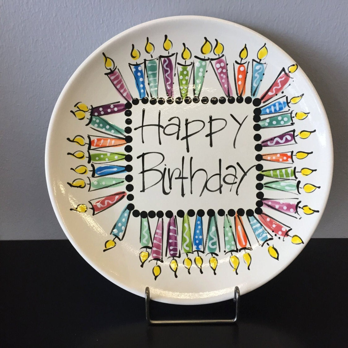 Happy Birthday Cake Ceramic Plate