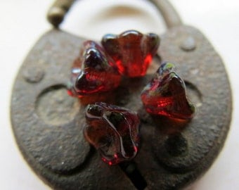 NEW Earthy Red Bells . Czech Pressed Glass Flower Beads . 8 mm (12 beads)