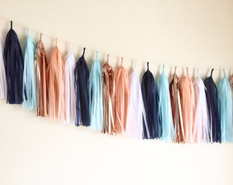 Rose Gold tassel garland | Peach Coral Sky Blue | party decoration | wedding decoration | Banner | Bunting | Copper | Tassle Garland |rustic