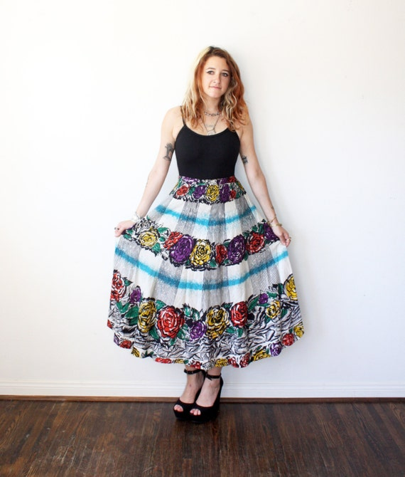 90s does 50s skirt mexican skirt maxi skirt sz s
