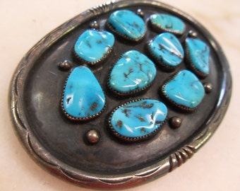 Vintage Sterling Silver and Turquoise Oval Belt Buckle