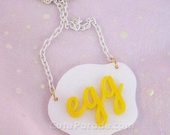 Egg Acrylic Necklace Kawaii Cute Fried Egg Breakfast