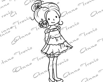 Digital Stamp, Digi Stamp, digistamp, Sweet Girly by Anna Travis, Coloring Page, girl
