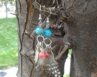 Turquoise Earrings - Feather Earrings - Coral Earrings - Native Earrings - Dangle Earrings - Blue Earrings