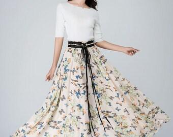 Maxi chiffon skirt, swing skirt,womens skirts,long skirt,summer skirt,prom skirt,chiffon maxi skirt,butterfly print, made to measure 1569