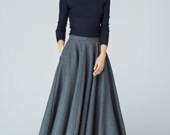 Maxi skirt, pleated skirt, skirt with pockets, winter skirt, wool skirt, dark gray skirt, ladies skirts, Christmas gift,plus size skirt 1586