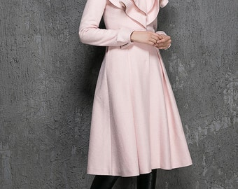 Warm jacket,Pink Wool Coat, Ruffle Collar,cashmere coat, cashmere jacket,romantic clothing,womens Coats, Custom made, wool jacket, Gift 1348
