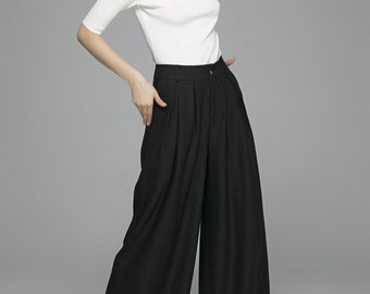 Palazzo Pants, black pants,wool pants, maxi pants, wild leg pants,womens pants,wide leg trousers, custom made, mod clothing, Gift  (1389)