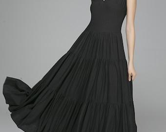 Black maxi dress,designer dress,Black dress, linen dress, prom dress, wedding dress, womens dresses, long black dress,  (1404)