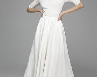 white skirt, linen skirt, maxi skirt, pleated skirt, swing skirt, flowy skirt, pocket skirt, prom skirt, summer skirt, custom made   (1392)