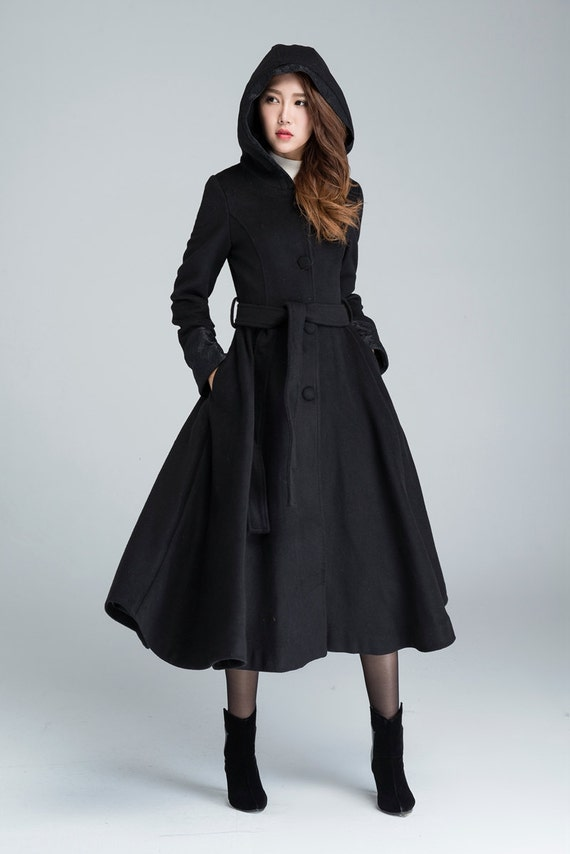 Schwarzer wollmantel lange trenchcoat kapuzen mantel for Schwarzer langer mantel