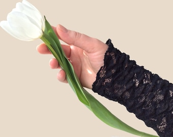 Black Cotton Lace Jersey Arm Warmers