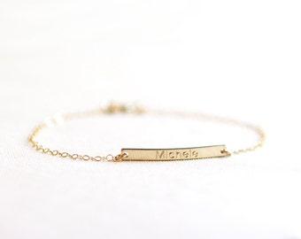 Name Bar Bracelet | 14kt Gold Fill or Sterling Silver