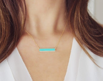 Turquoise Bar Necklace | Gold and Turquoise Horizontal Bar Necklace | Minimalist Jewelry