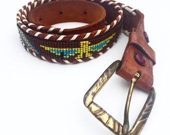 Vintage Western Native American Beaded Belt