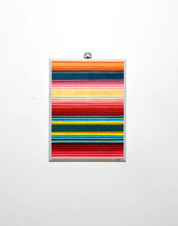 "ORIGINAL ""Serape No.10"" Painting -- Acryla Gouache on Wooden Plaque -- Mexican Blanket -- Vibrant Gem Tone Stripes -- White Border -- 9x12"""