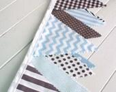 Bunting Fabric Banner, Fabric Flags, Boy Nursery Decor, Birthday Decoration - Baby Blue, Gray, Grey, Chevron, Dots, Argyle