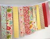 Fabric Garland, Rag Tie Garland, Bunting Banner, Girl Nursery Decor, Photo Prop Flowers, Floral, Birds, Pink, Red, Yellow-The Sweetest Thing