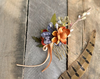 Woodland hair comb, hair accessories, mini floral comb, velvet flower comb, rustic wedding