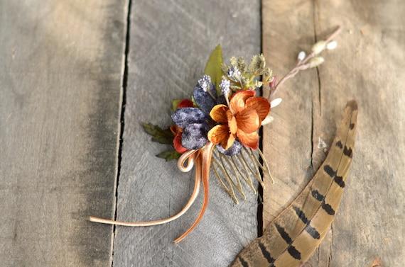 Woodland hair comb, hair accessories, mini floral comb, velvet flower comb, rustic wedding