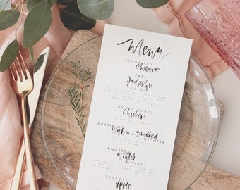 Hand lettered watercolor brush calligraphy wedding and event menu
