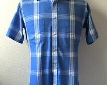 Vintage Men's 80's Van Heusen, Blue, White, Short Sleeve, Button Down (M)