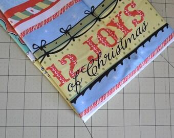 12 joys of christmas - fabric panel - christmas fabric