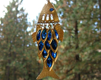 """Rhinestone Fish Necklace Articulated Vintage Jewelry 32 """" LONG Chain"""