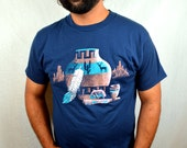 Vintage 80s 90s Southwest Feather Native American Pottery Tshirt Tee Shirt
