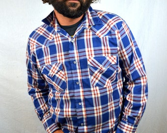 Vintage Western Plaid Pearl Snap Long Sleeve Shirt