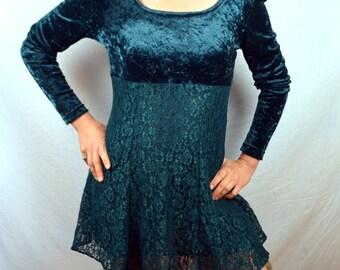 Vintage 80s 90s Green Velvet Grunge Lace Mini Dress