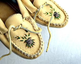Vintage Leather Beaded Mocs Mocassins Slipper Shoes Moccasins