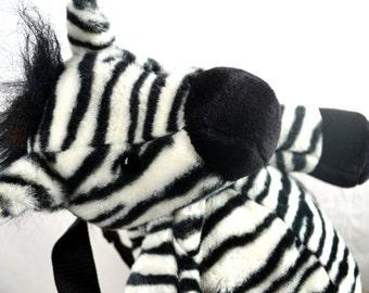 Cute Vintage Zebra Plush Stuffed Animal 80s 1980s Backpack