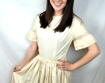 Vintage 1950s 50s Jeanne D'Arc Cotton Day Dress - Lovely Sleeves