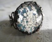 Queen Anne's Lace Victorian Filigree Pressed Flower Gunmetal Ring Atop Glowing Caribbean Ocean Blue-Green-Gifts Under 20-Symbolizes Peace