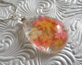Falling Autumn Leaves-Oval Glass Teardrop Pendant-Miniature Ombre Maple & Oak Leaves-Nature's Art-Symbolizes Strength,Courage-Gifts Under 35