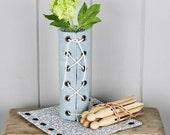 Handmade Blue Linen Herb Jar/Bottle Wrap Vase Cover