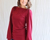Women's Top, Jersey, Long Sleeve, Folded Detail, Classic- Made to order
