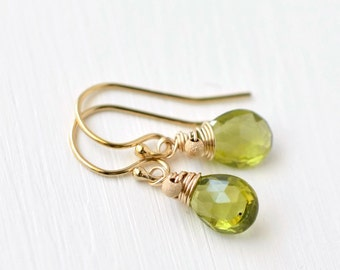 Peridot Earrings / Gold Peridot / Small Gemstone Dangle Earrings / Wire Wrapped Briolette / Gold Fill French Wires / Green Gem Jewelry