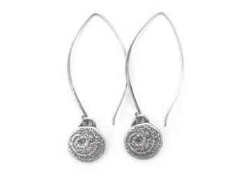 Silver Spiral Earrings - Oxidized Silver Earrings - Long Silver Earrings - Sterling Silver Earrings - Desert Spiral Dangles (ES-SPL-ML)