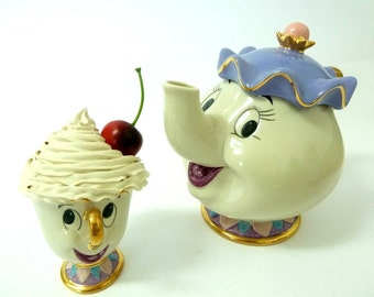 The Beauty And The Beast Mrs. Potts & Chip Tea Set, Tea Pot And Tea Cup jewelry box ,Tea Cup Cupcake box, Trinket box