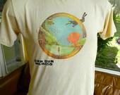 Cancun Mexico 1980s soft dive vintage tee shirt - tan size medium/large