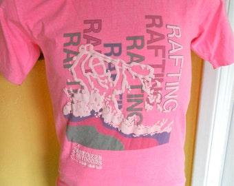 River Rafting 1980s vintage tee shirt Northern Outdoors hot pink size medium